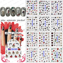 BeautyNailArt   50Sheet/LOT 3D glitter Halloween nail sticker more than 12 different designs NAIL ART for you  nail Accessories