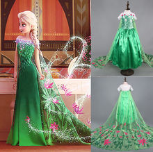 Promotions Custom Anna Elsa Girls Princess Dress Kids Party Vestidos Baby Children Cosplay Dresses Wedding Pincess Long Dress