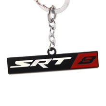BBQ@FUKA Chrome Finish Sliver/Black SRT 8 Emblem Key Chain Fob Ring Keychain Key ring Fit For Chrysler Dodge Jeep Car Accessary