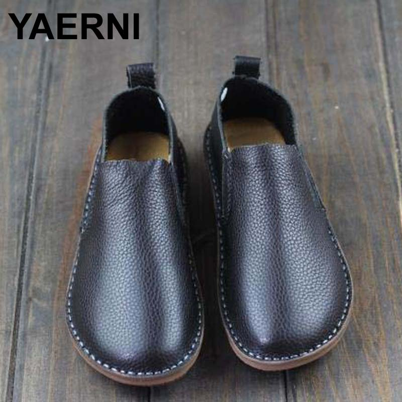 YAERNI Womens Shoes Genuine Leather Womens Flat Shoes Round toe Slip on Moccasins Shoes Black and White Spring Footwear<br>