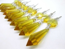 20pcs/lot 14*55MM Yellow Crystal Glass Chandelier icicle drop pendants Hanging lighting arts for wedding Cake Topper decoration