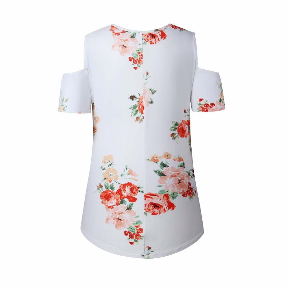 New 2018 Spring Summer Tops Women Short Sleeve Sexy Casual T-shirt Print Slim Off Shoulder T-shirt Flowers Print Tops T-shirt 25