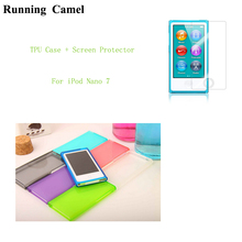 Running Camel Candy Color Soft TPU Silicone Case cover for Apple iPod Nano 7 7G 7th generation + HD Screen Protective Film