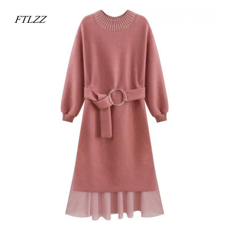 Ftlzz New Autumn Spring Women Sweater Knitted Dress Elegant Sweet Fashion Slim High Waist Belt Long Sleeve Knitting Long DressÎäåæäà è àêñåññóàðû<br><br>