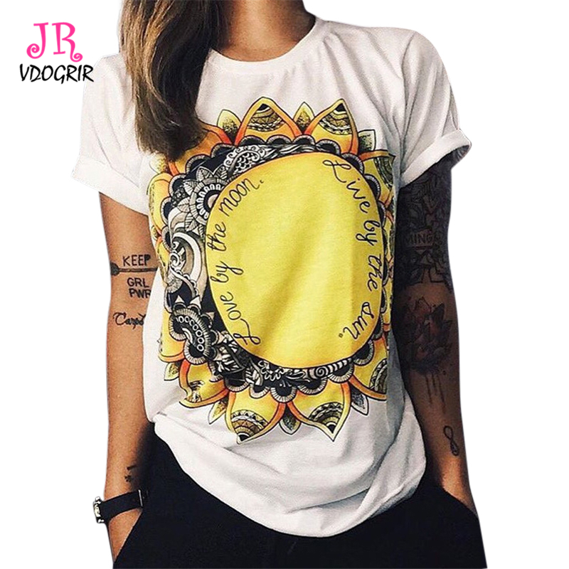 9b3a0b9725067 VDOGRIR Fashion Streetwear Knitted Short Sleeves Floral Printed Flower T-shirts  Short Sleeves Summer Women