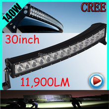 Free UPS ship!1pcs/set,30inch 140W 11900LM Curved,10~30V,6500K,LED working bar,Boat,Bridge,Truck,SUV Offroad car,black,100W