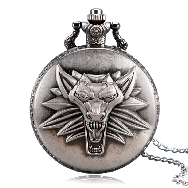 2017 Men Women Awesome Roaring Lion The Witcher 3 Wild Hunt Quartz Pocket Watch With Necklace Chain Unisex Steampunk Gift<br><br>Aliexpress