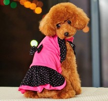 cute bowknot and round dot design dog clothes fashion pet clothes Lady dog dress Hot sale(China)