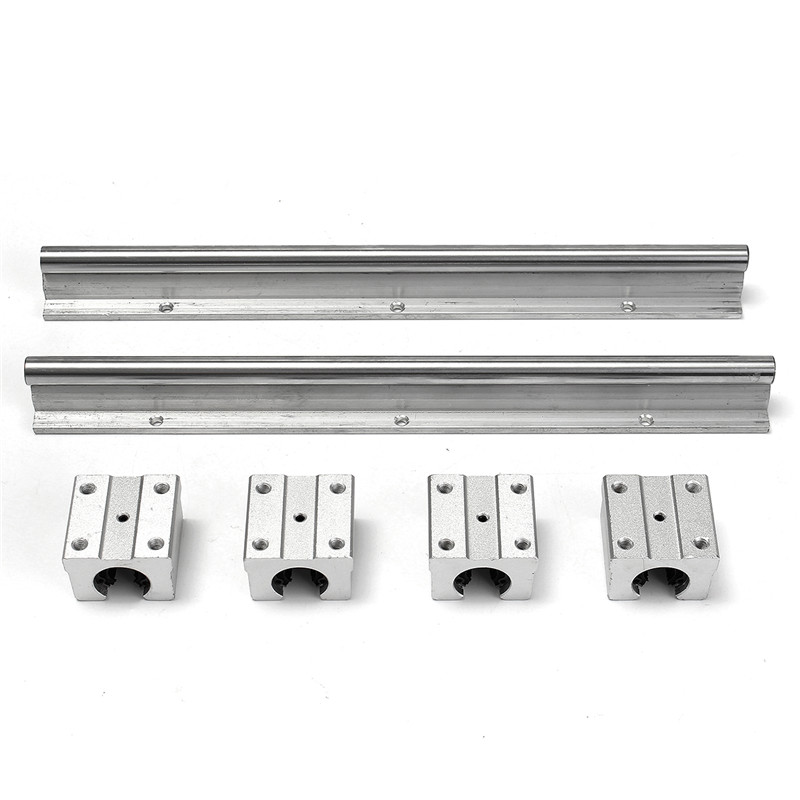 2X SBR12-300mm Supported Rails Carbon Steel +4pcs SBR12UU Pillow Bearing Blocks for DIY CNC<br>
