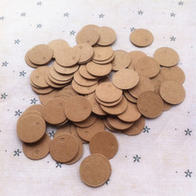 100pcs Brown Kraft Paper Tags Wedding Gift Decorating Tag Mini Round Food Label 2*2cm