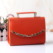 Fashion PU Clamshell Women Shoulder Bag Orange Women Tote Office Lady Handbag Crossboday Messenger
