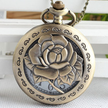 3D Rose Necklace for Women Lady Girlfriend Gifts Hollow Vivid Engraved Flower Nurse Quartz Pocket Watch Antique Pendant TPB014(China)