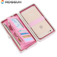RDGGUH New Mobile Phone Wallet Women Long Style Cute Large Capacity Big Notes Folder Wallet Small Hand bag Ladies Wallets 2017(China)