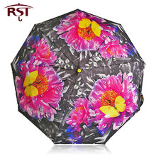 Beautiful printed Umbrella Rain Women Windproof Ultralight Sun/Rain 3d Umbrellas Chinese Brand Ladies folding umbrellas parasol(China)