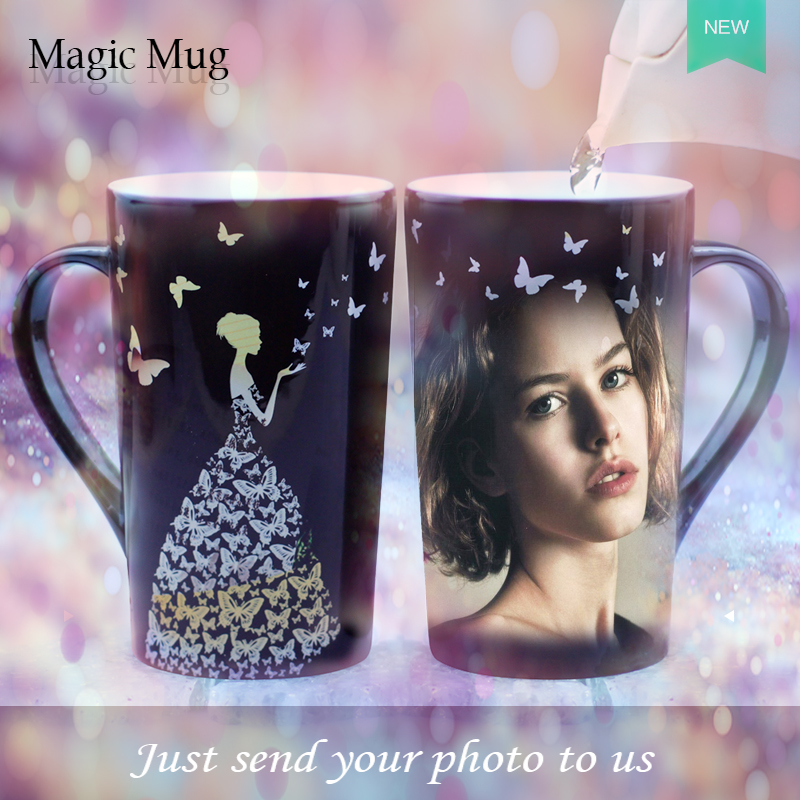 Hot Sensitive Color Change Mug Coffee Cup Creative Magic Mug Customized DIY Photo Mugs Gifts For Friend Family Ceramic Tea Cup(China (Mainland))