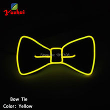 2017 Fashion Glowing Flashing Yellow EL Bow Tie Steady on electronic DJ's, led bow Tie for party ,bar with free shipping