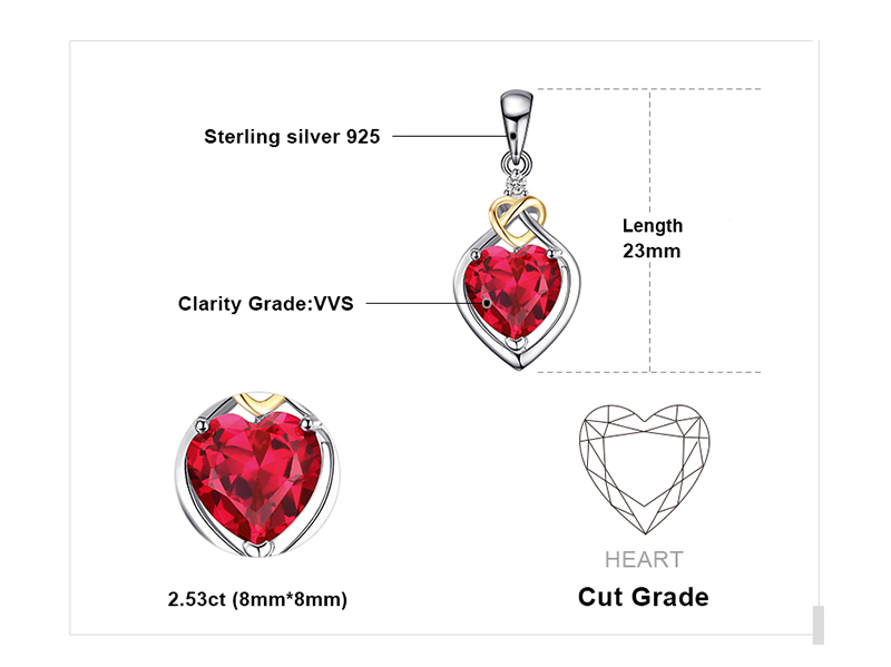 JewelryPalace Love Knot Heart 2.5ct Created Red Ruby Anniversary Pendant 925 Sterling Silver 18K Yellow Gold Without a Chain 27