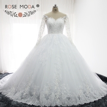 Rose Moda Long Sleeves Puffy Lace Wedding Ball Gown Illusion Back Princess Fluffy Wedding Dresses with Ball Skirt(China)