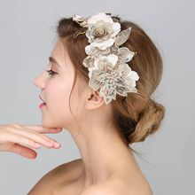 Baroque Hair Jewelry Wedding Party Leaves Crystal Pearl Headbands White Flower Head Piece Bride Vintage Hair Jewelry Accessories(China)