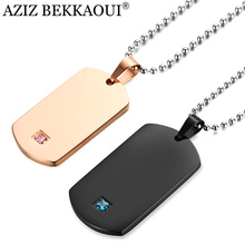 AZIZ BEKKAOUI Customized Logo Laser Engraving Tag Pendant Necklace Stainless Steel Couple Necklaces with Stone Dropshipping(China)