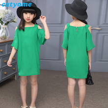 Cutyome Childrens Fancy Dress Green Baby Girls Solid Off-Shoulder Straight Beach Wear Chiffon Dresses 2017 Summer Teens Clothing(China)