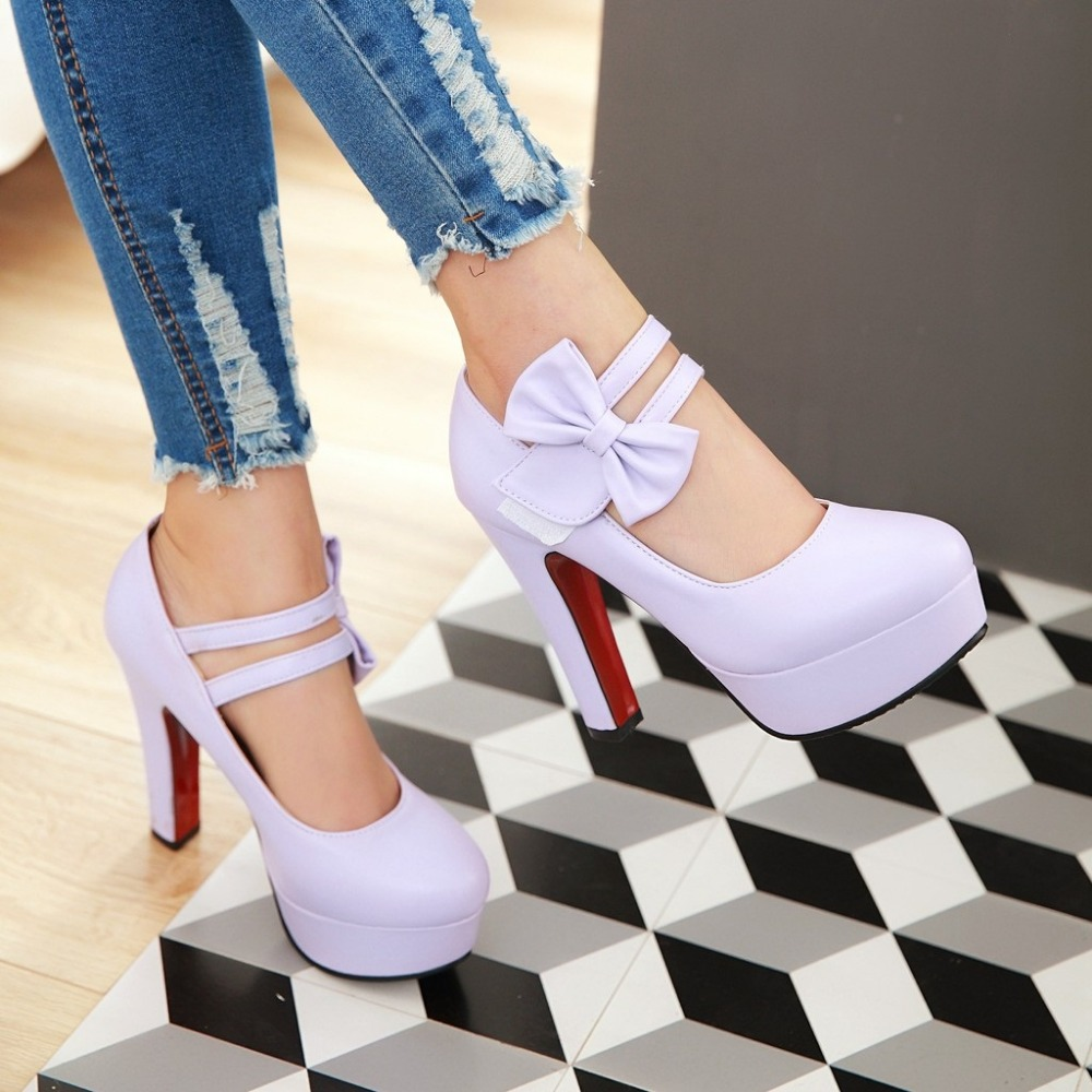 MORAZORA Fashion sweet high heels shoes 12cm shallow women pumps wedding shoes big size 34-47 platform shoes bowtie 7