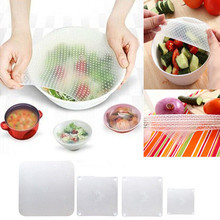 Multifunctional Silicone Food Seal Cling Film Vacuum Keep Food Fresh Plastic Wrap Preservative Film For Refrigerator,4pcs