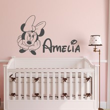 Minnie Mouse Customed Babies Name Cute Wall Stickers Home Decor Kids Bedroom Sweet Decor Vinyl Wall Decals DIY Poster M380