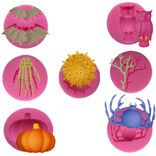 New Halloween Molds Fondant Cream Chocolate Silicone Molds Hand Skeleton Spider Bats Pumpkin Owls Clay For Kitchen Baking