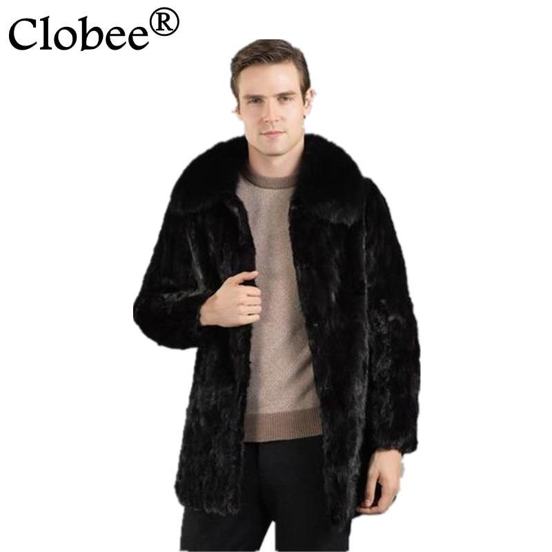 Mens Faux Fur Coats Long Trench Coat 2017 winter Luxury Fur turn-down Collar warm mink fur Leather slim male Jacket coats WR675