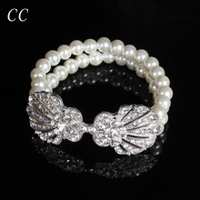 Wholesale Pearl and Crystal Bangles for Women Lady's Elegant Bracelets for Wedding Party Fine Design Fashion Jewelry CCHE019