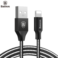 3D Full Metal USB Cable For iPhone, Baseus Mobile Phone Cable Fast Data Sync Charger Cable For iPhone 7 6 s se 5s iPad Air Mini