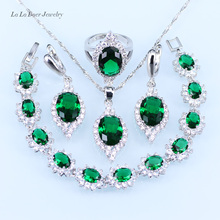 L&B Classic silver 925 Jewelry Sets Women wedding Green created Emerald Bracelet/pendant/Necklace/Earrings/Ring