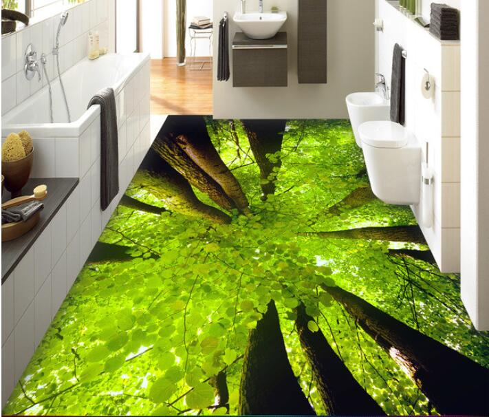 3 d flooring custom waterproof  3 d pvc flooring 3 d tree forest leaves  3d bathroom flooring photo wallpaper for walls 3d<br>