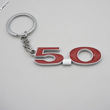 20pcs Chrome Metal 5.0 Car Key Chain Key Ring Full Metal 5.0 Keychain Key Stickers Accessory for Exploror Escort Kuga Mustang