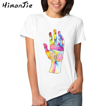Doodle Hand Fingers Print White T-shirts for Women 2017 Summer Plus Size Soft Basics Female Scrawl Design Tee Tops Jeremy Scott