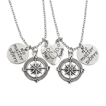 2PCS/SET Vintage No Matter Where Compass Necklace Best Friends Broken Heart Necklaces & Pendants Gift For Friends Unisex Jewelry