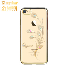 Kingxbar For iPhone 7 7 Plus Case Luxury Electroplating Flower PC Hard 360 Full Protection Cover With Crystals from Swarovski