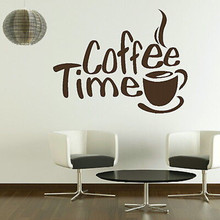 Coffee Time Wall Sticker 2016 New Creative adesivo de parede Home Decor Window Door Store Glass Stick Art Pic D052(China)