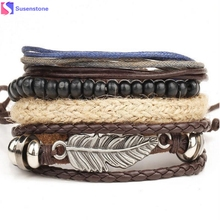 New Men's Braided Leather Stainless Steel Cuff Bangle Bracelet Wristband Multi - layer bracelet(China)