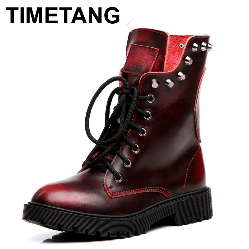 TIMETANG Autumn Winter Military Boots Women Leather Shoes Skull Rivets Ankle Boots Heels Platform Combat Boots Fur Punk Boots<br>