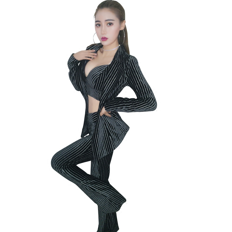 2017 New fashion female sexy nightclub DJ DS costume jazz Dance Wear tops singer big yards stage dance costumes Bra+Bell-bottoms (3)