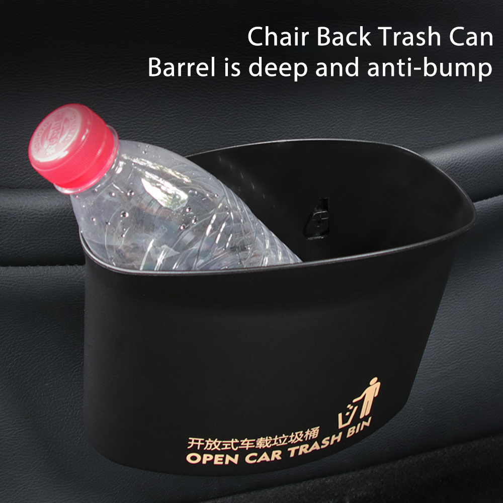 uxcell Auto Car Black Plastic Body Blue Cap Trash Rubbish Garbage Can Box Garbage Cans