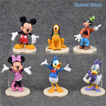 6pcs/set Cartoon Mickey Mouse and Donald Duck Daisy Duck Goofy Pluto PVC Action Figure Model Toy Automotive Decoration