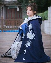 1pc Women Vintage Style Hoodied Flower Embroidery Cloak Winter Dark Blue Cape 99cm Length