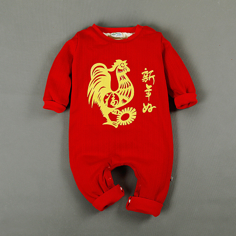 Cotton Long Sleeve Winter 2 Layers Thick Print Gold Chicken Happy New Year Onesie Jumpsuits Rompers for 1-3 Years Baby Boy Girls<br><br>Aliexpress