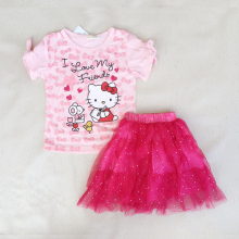 2017 hot summer style new children's wear girl cartoon kitty t-shirts + shorts  skirts sets kids simple suit