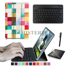 Accessory Kit for Lenovo Tab4 Tab 4 10 TB-X304N 10.1 inch - Printed Smart Cover Case+Bluetooth Keyboard+Protective Film+Stylus
