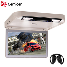 Cemicen 13.3 Inch Car Roof mount DVD Player Flip Down HD 1080P Video USB/SD/HDMI/MP5/IR FM Transmitter TFT Wide Digital Screen(China)