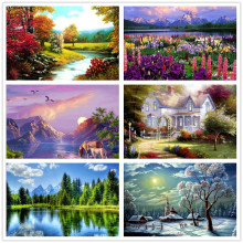 Buy % Diamond painting landscape tree flowers House animal Home Decoration DIY Diamond Painting Resin Diamond Embroidery Needlework for $1.36 in AliExpress store